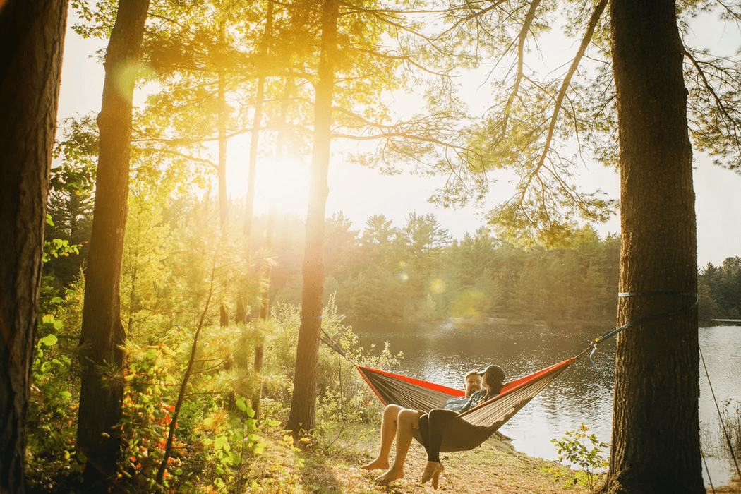 Two people relaxing lakeside in a hammock