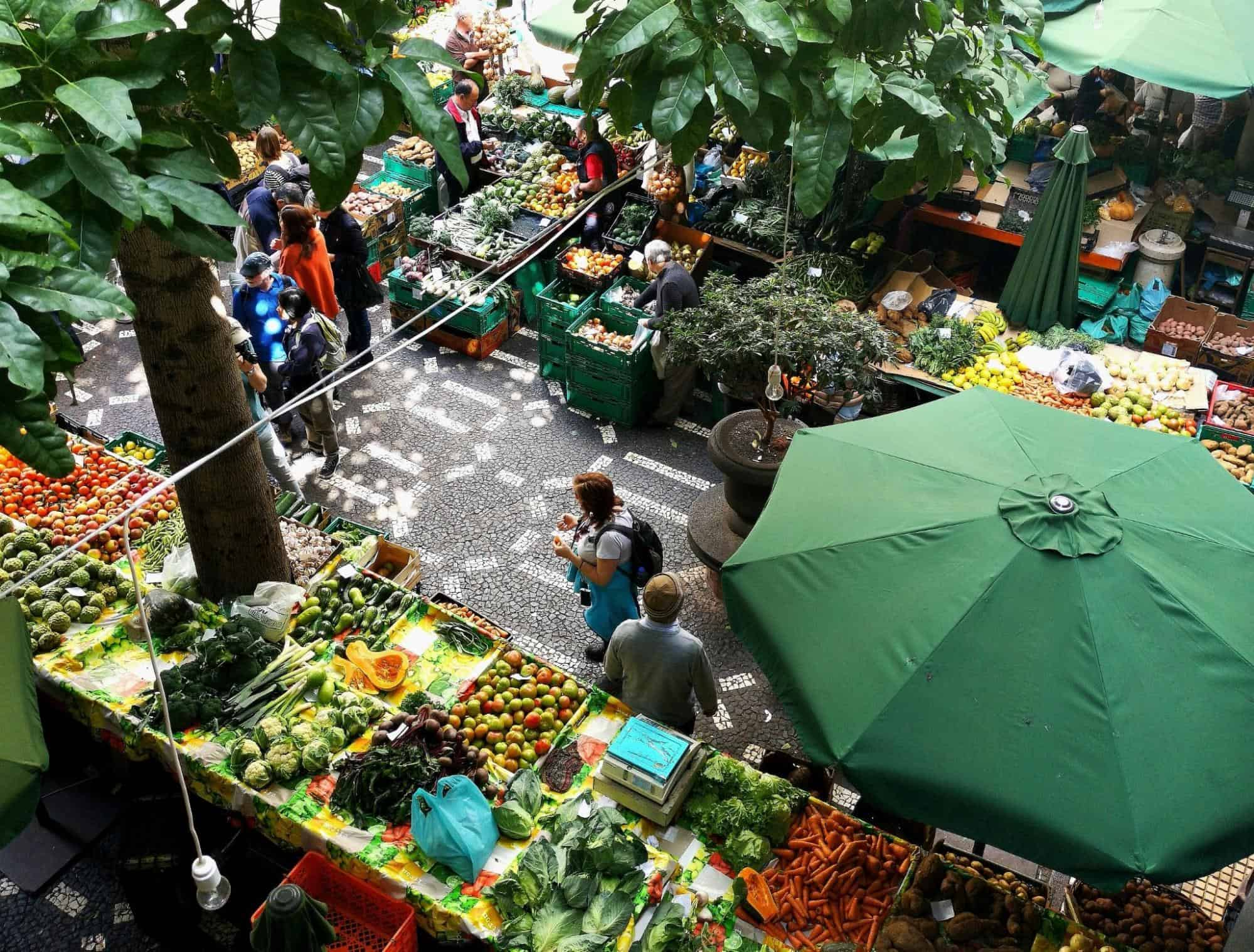 Top view of a Famers market