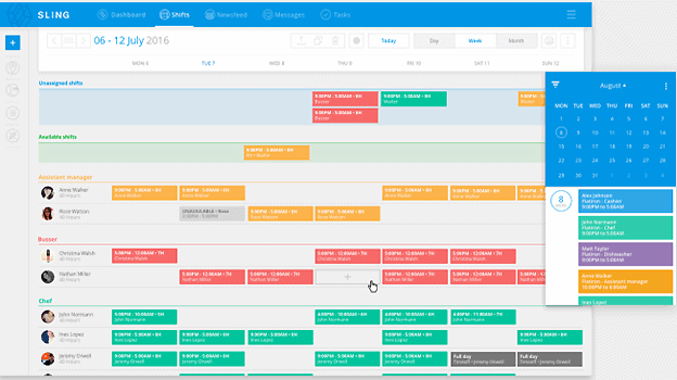 screenshot of Sling shift scheduler