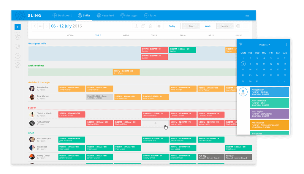 shifts and calendar screen on Sling web application