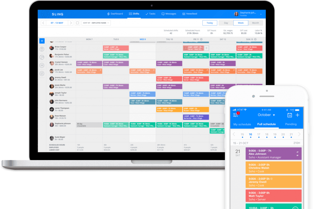 desktop and mobile calendar views showing a rotating shift schedule