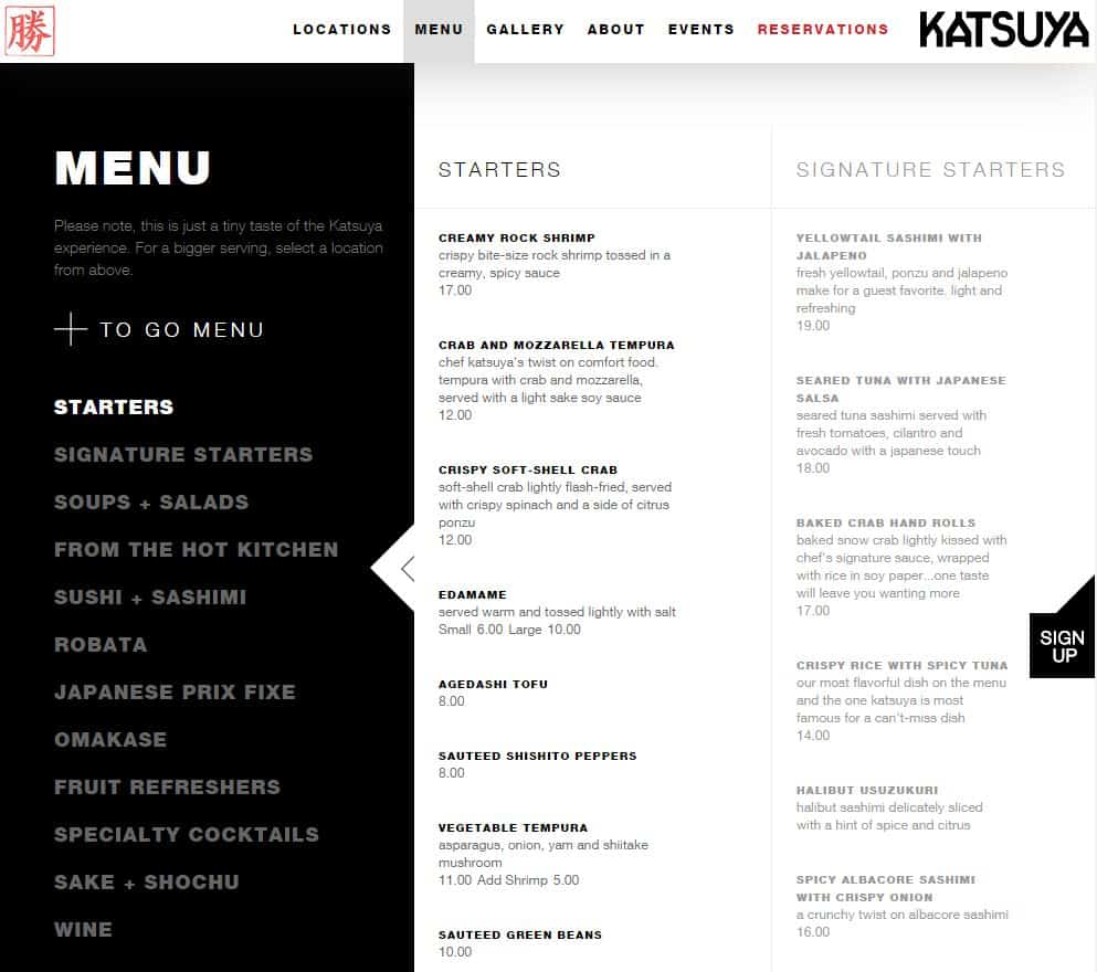 Katsuya restaurant websites
