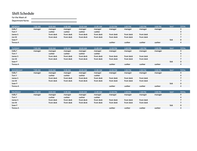 a weekly schedule template found in a microsoft program