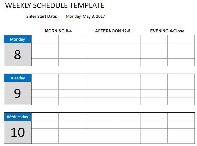 how to create a weekly schedule template