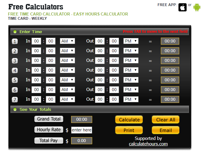 time card calculator with total pay