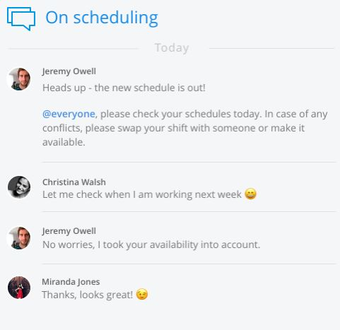 Example of work schedule communication