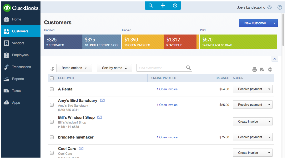 Restaurant accounting tool QuickBooks