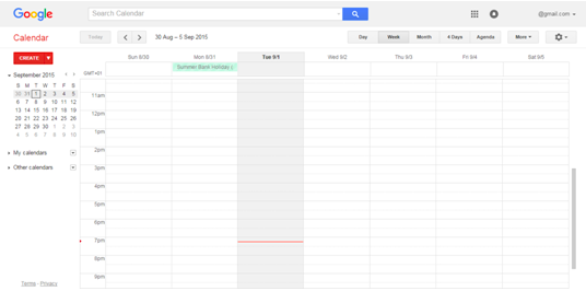 Example of a Google Calendar schedule