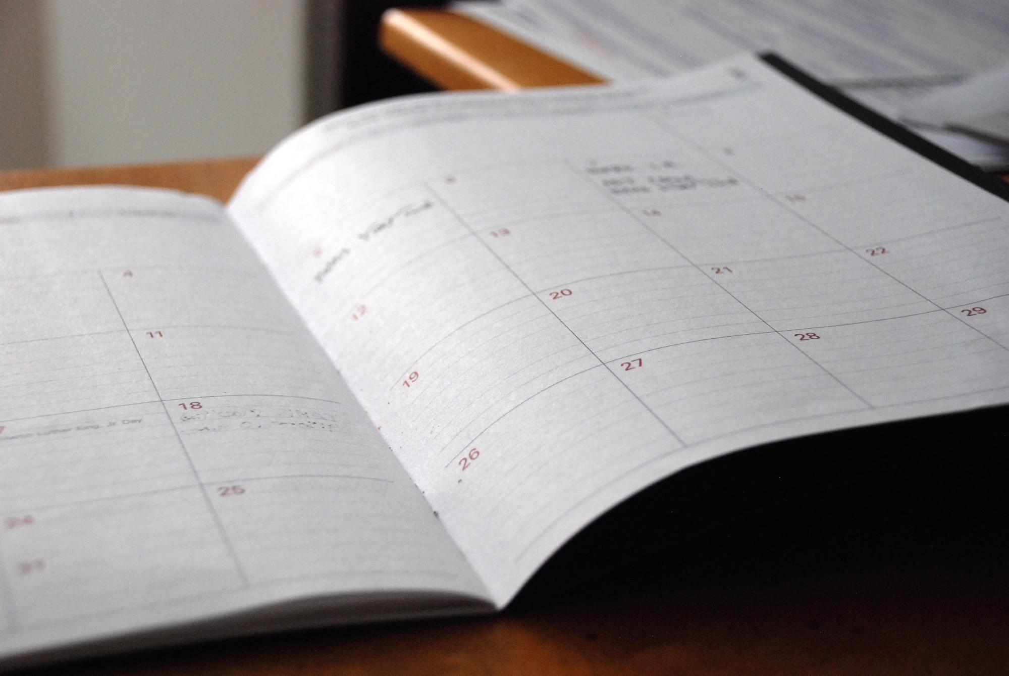 Paper calendar for employee scheduling