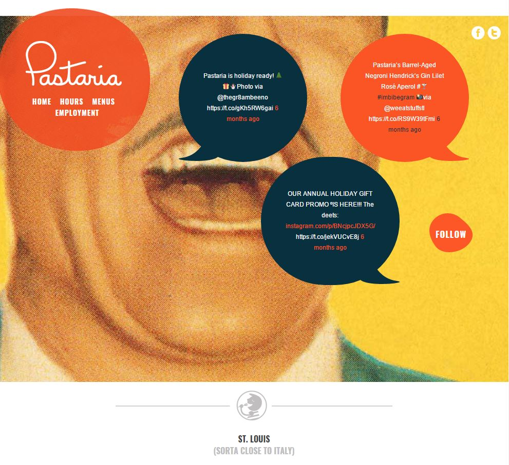 Good restaurant website from Pastaria