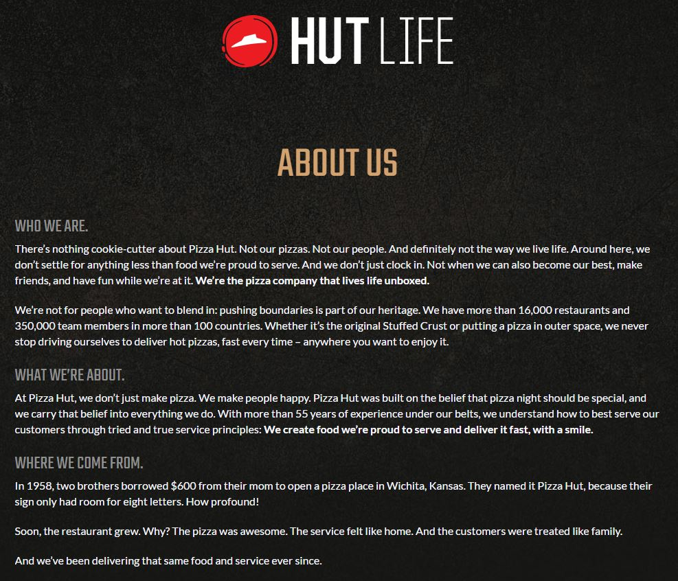 Image of Pizza Hut's website