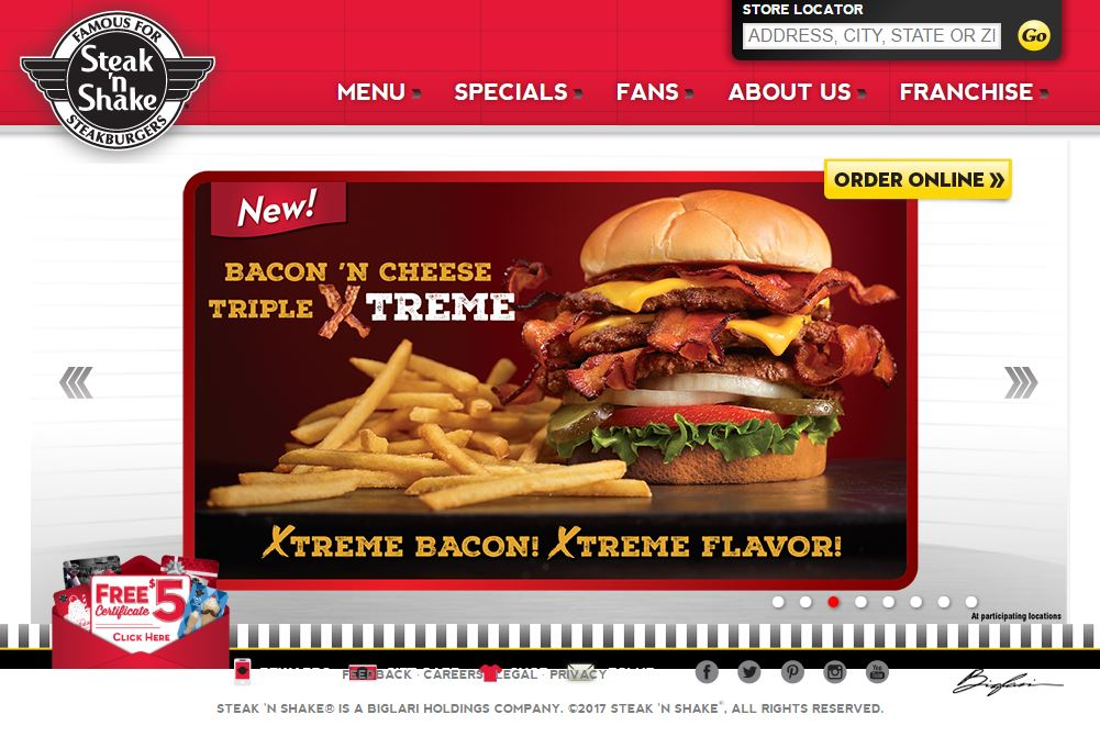 Steak N Shake's website