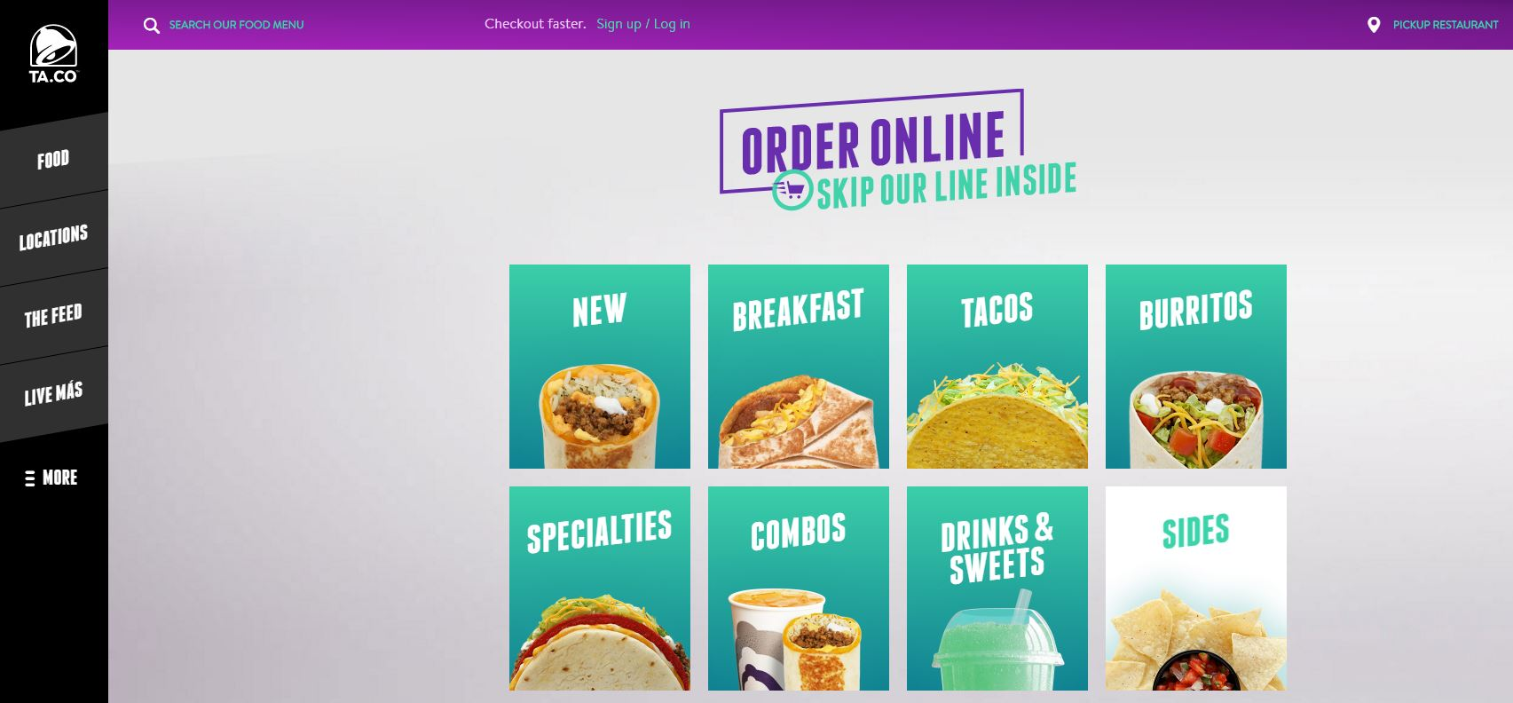 Taco Bell's restaurant website