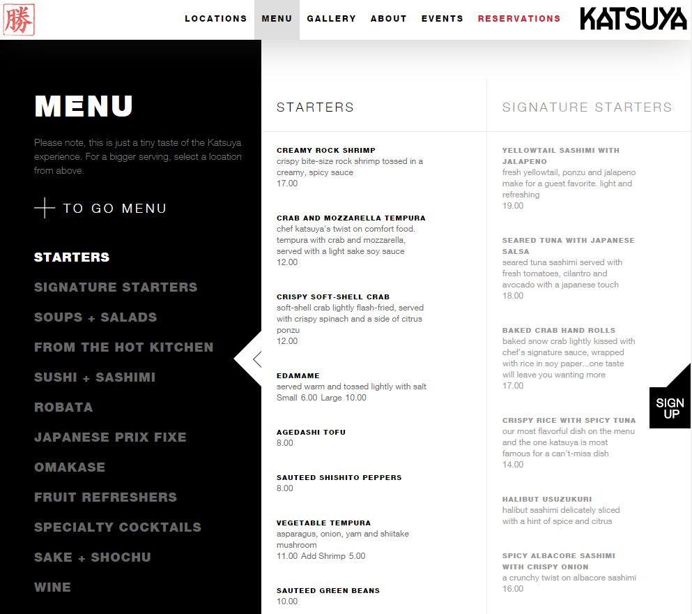 Restaurant website image