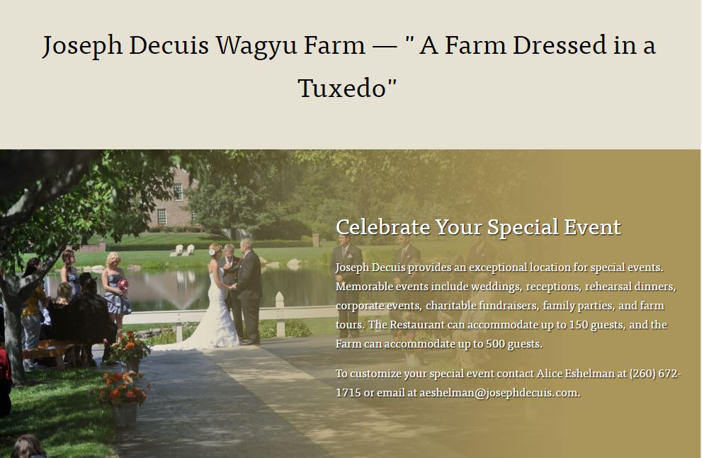 Farm as an example of an effective restaurant website