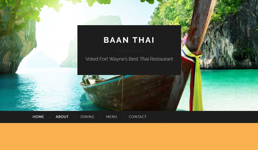 restaurant website for Baan Thai