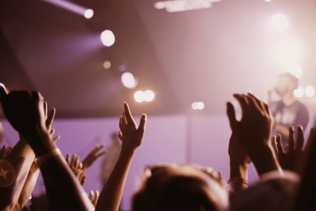 hands raised in crowd at concert
