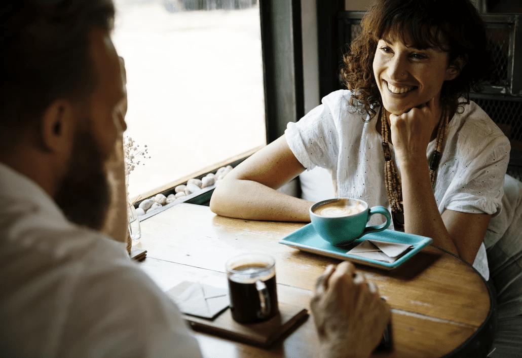 Seasonal job interview over coffee