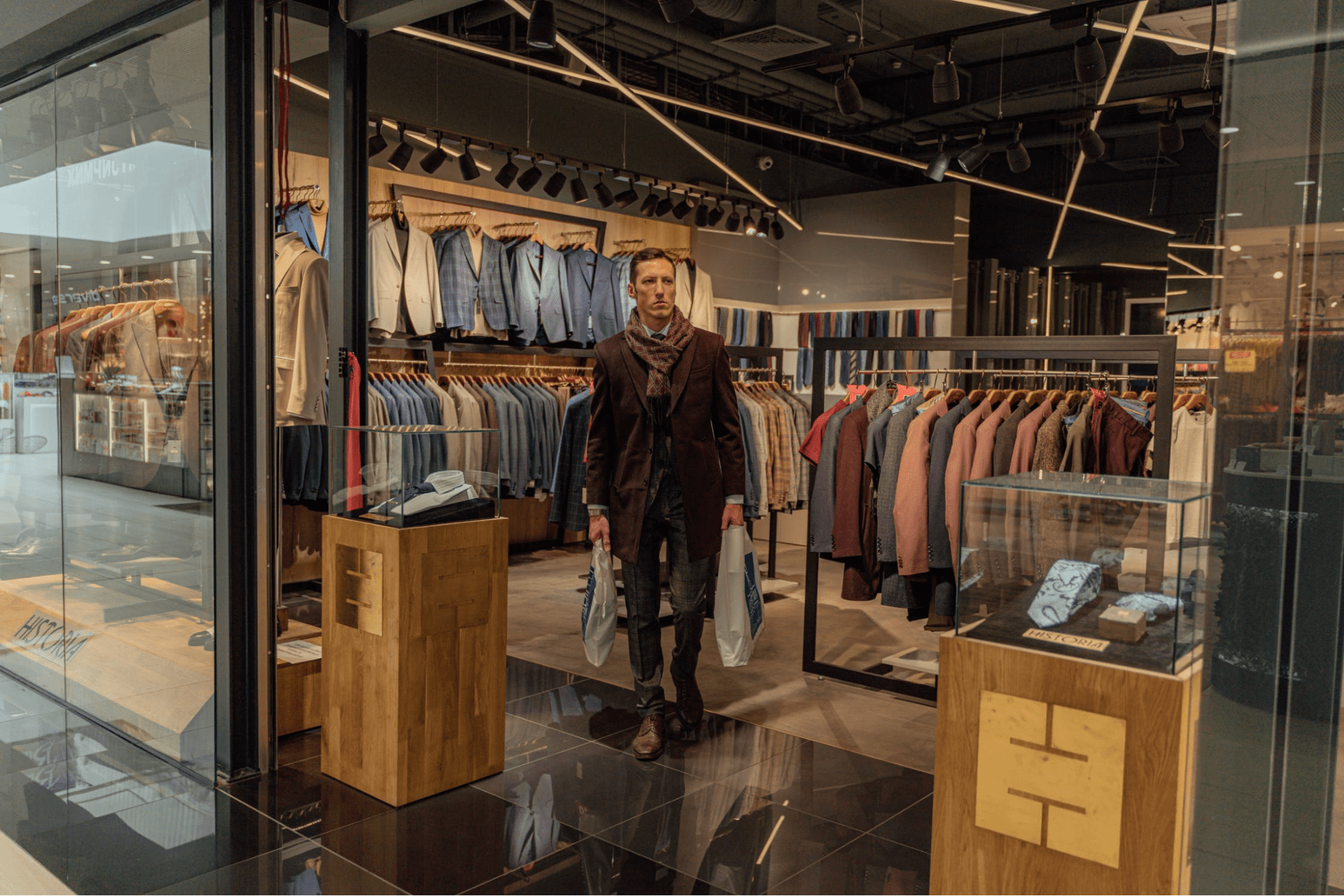 Man shopping at a department store