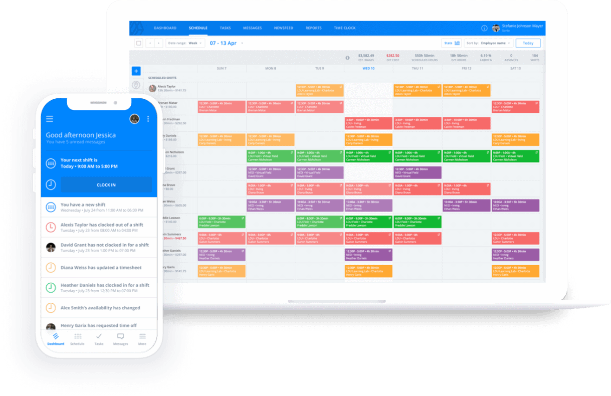 Inside the sling app for scheduling seasonal jobs