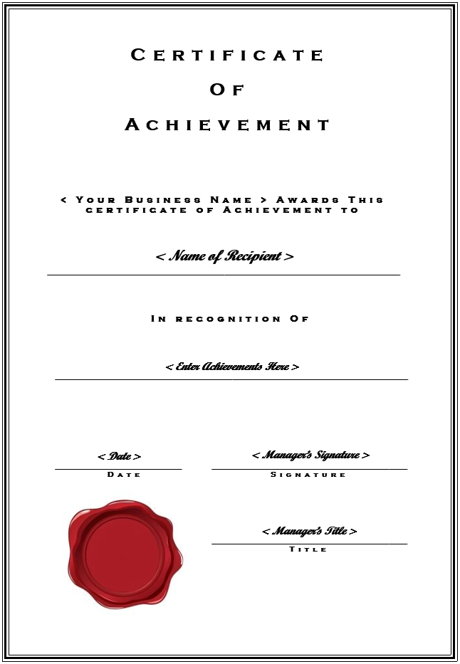 Certificate Of Achievement Template Free Download Sling