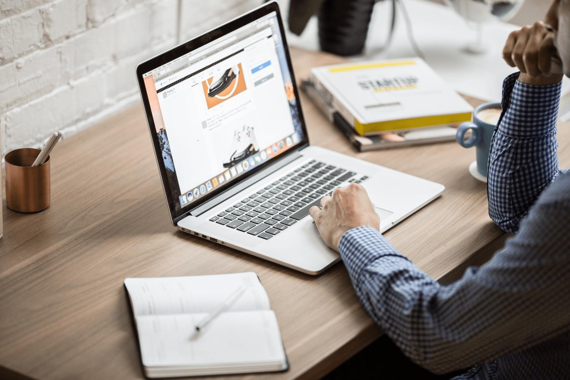 Employee working on laptop