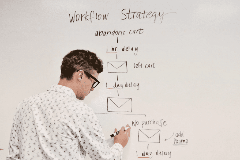 man drawing an example of a corporate level strategy