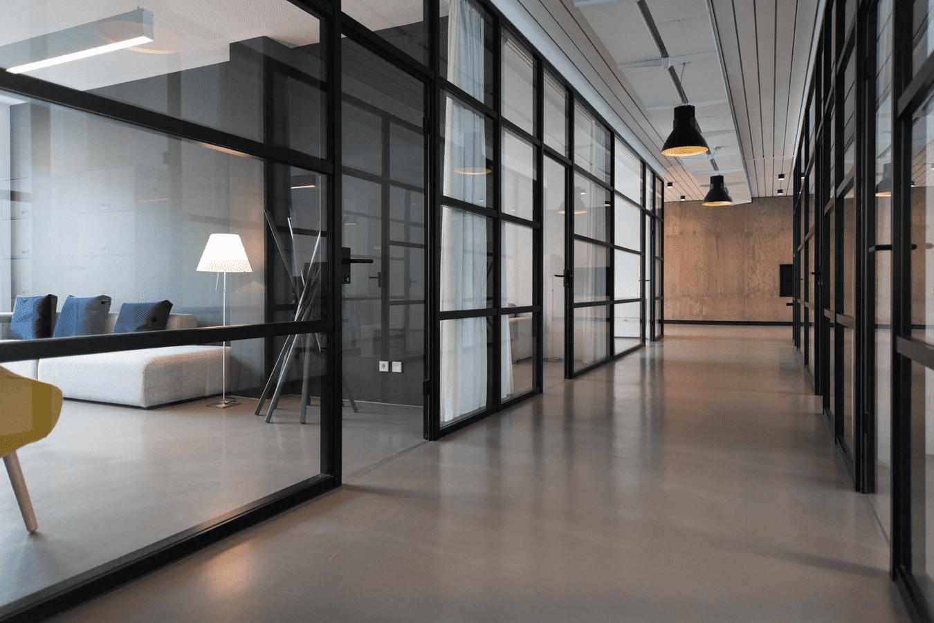Inside an empty office space