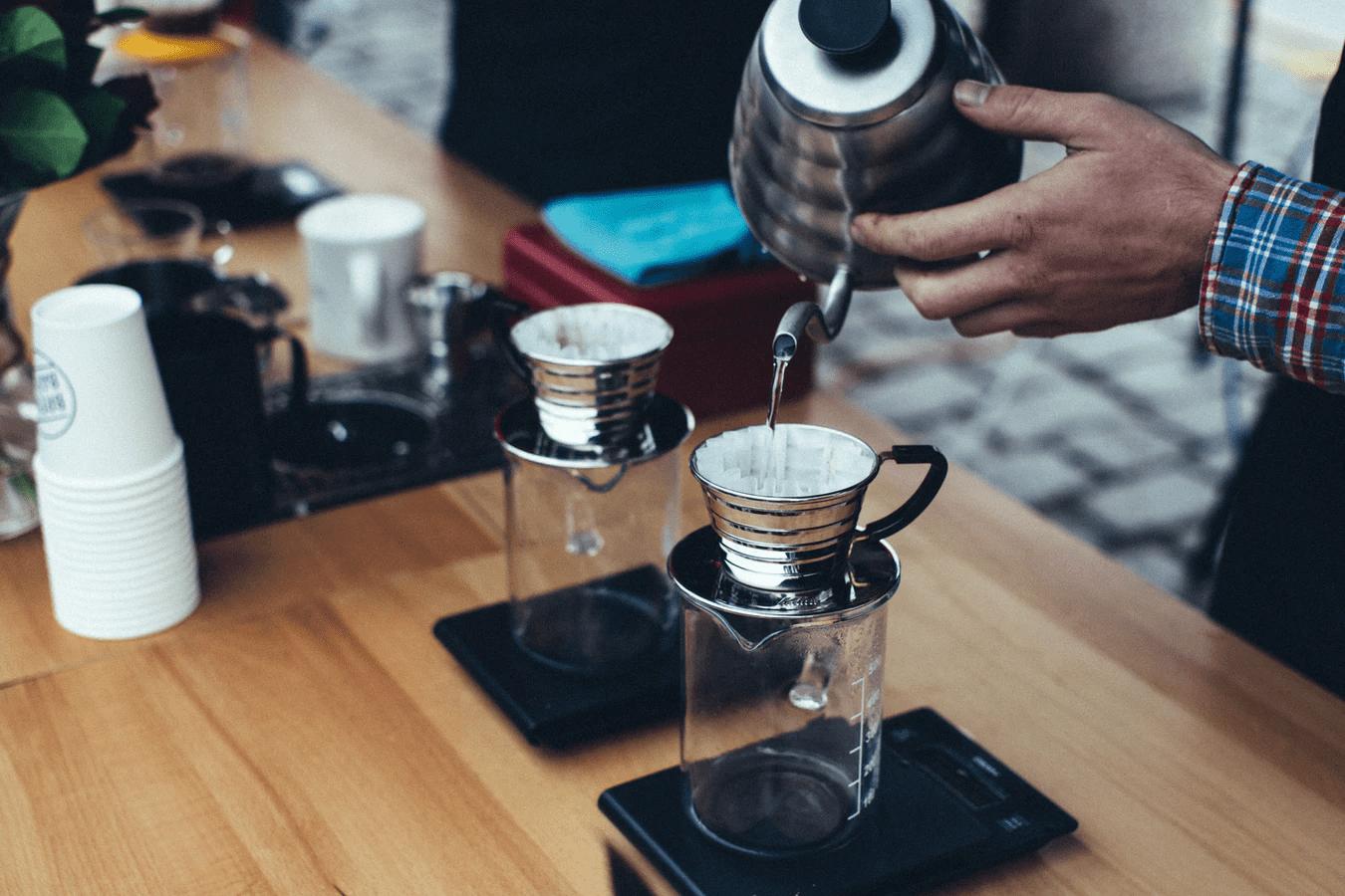 Barista preparing a hot drink