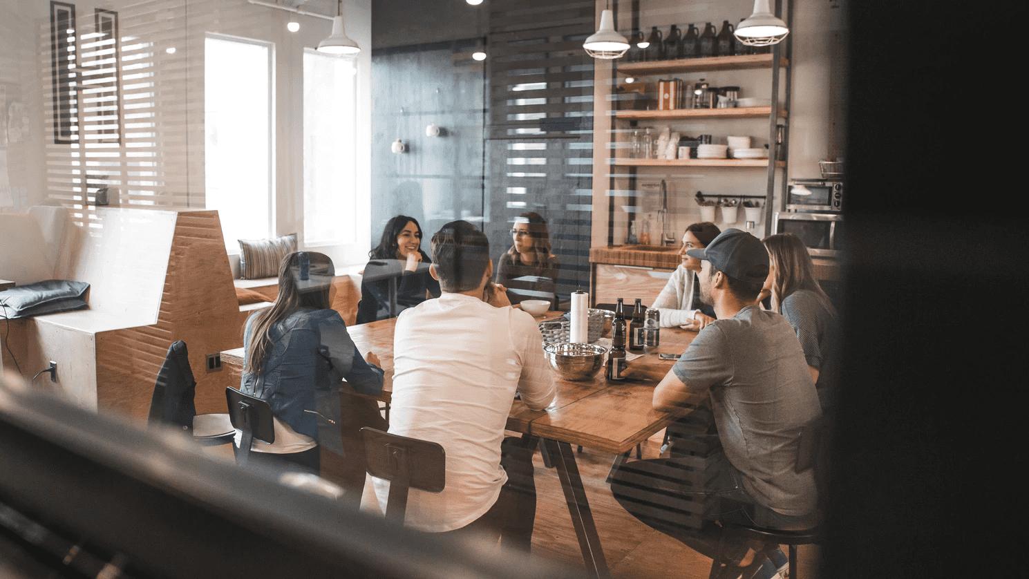 employees socializing on break