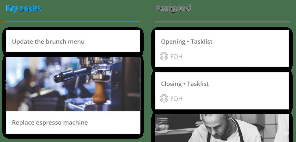 Tasks area of Sling work schedule app