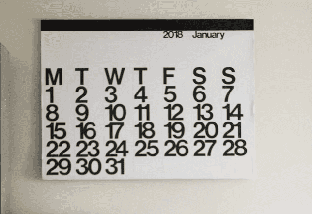 Calendar on the wall