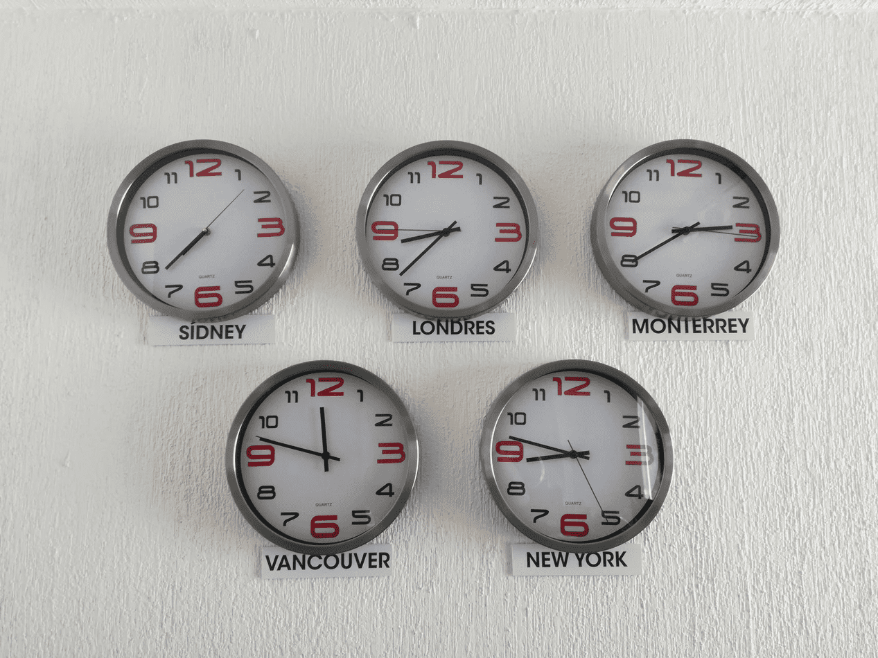 Clocks showing different time zones to represent flextime