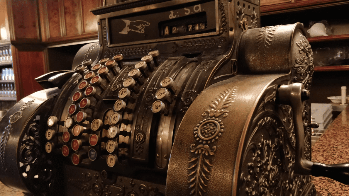 Old-fashioned cash register