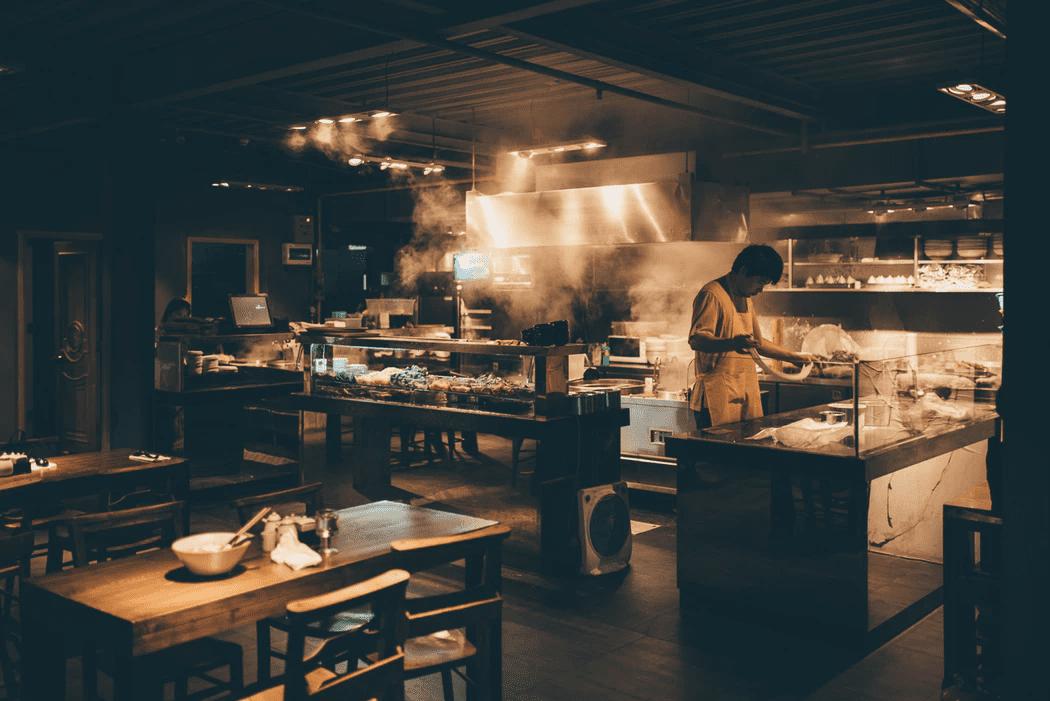 chef working his scheduled shift in a restaurant kitchen