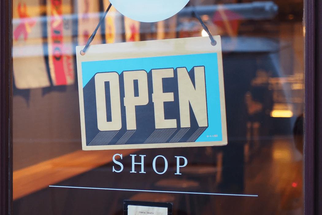Open sign a the door of a retail establishment