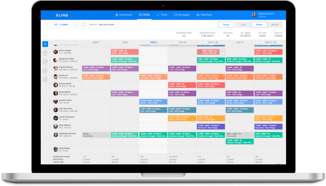 Sling feature for retail scheduling
