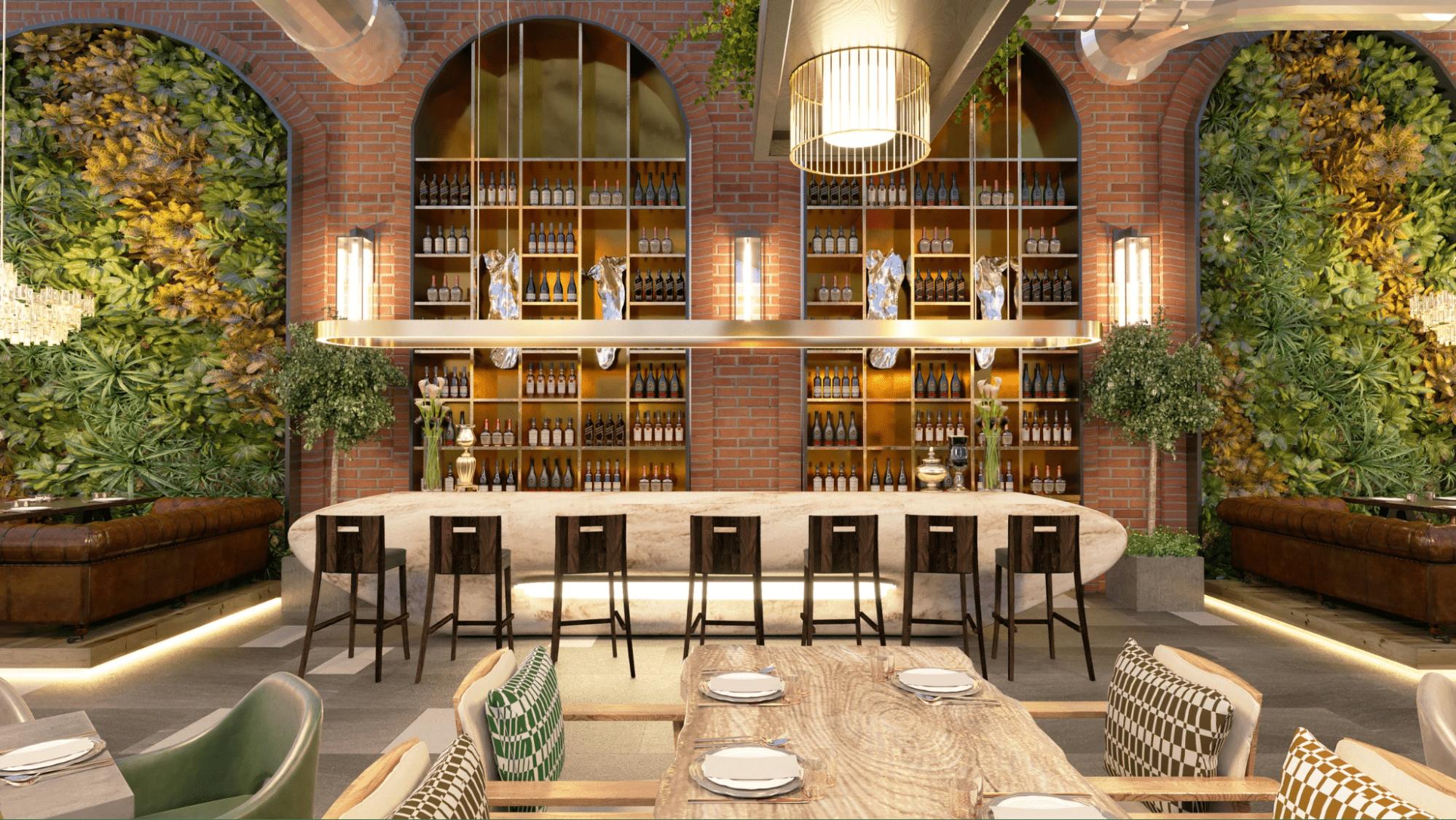 Open space restaurant floor plan