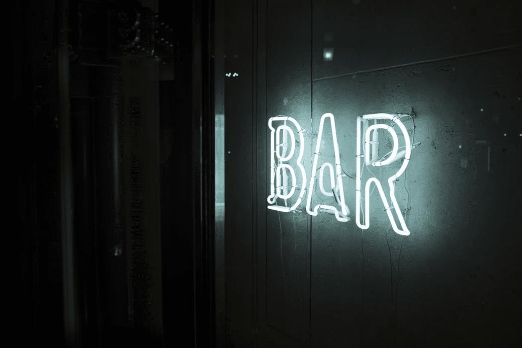 Sign on a bar