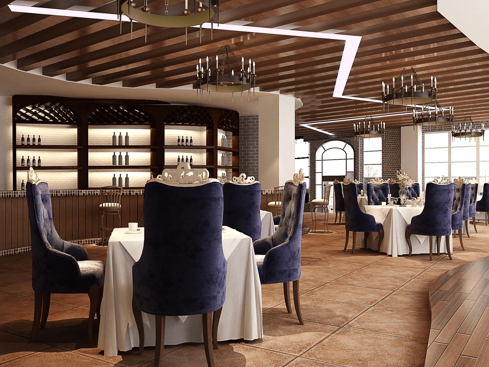 Inside an elegant restaurant
