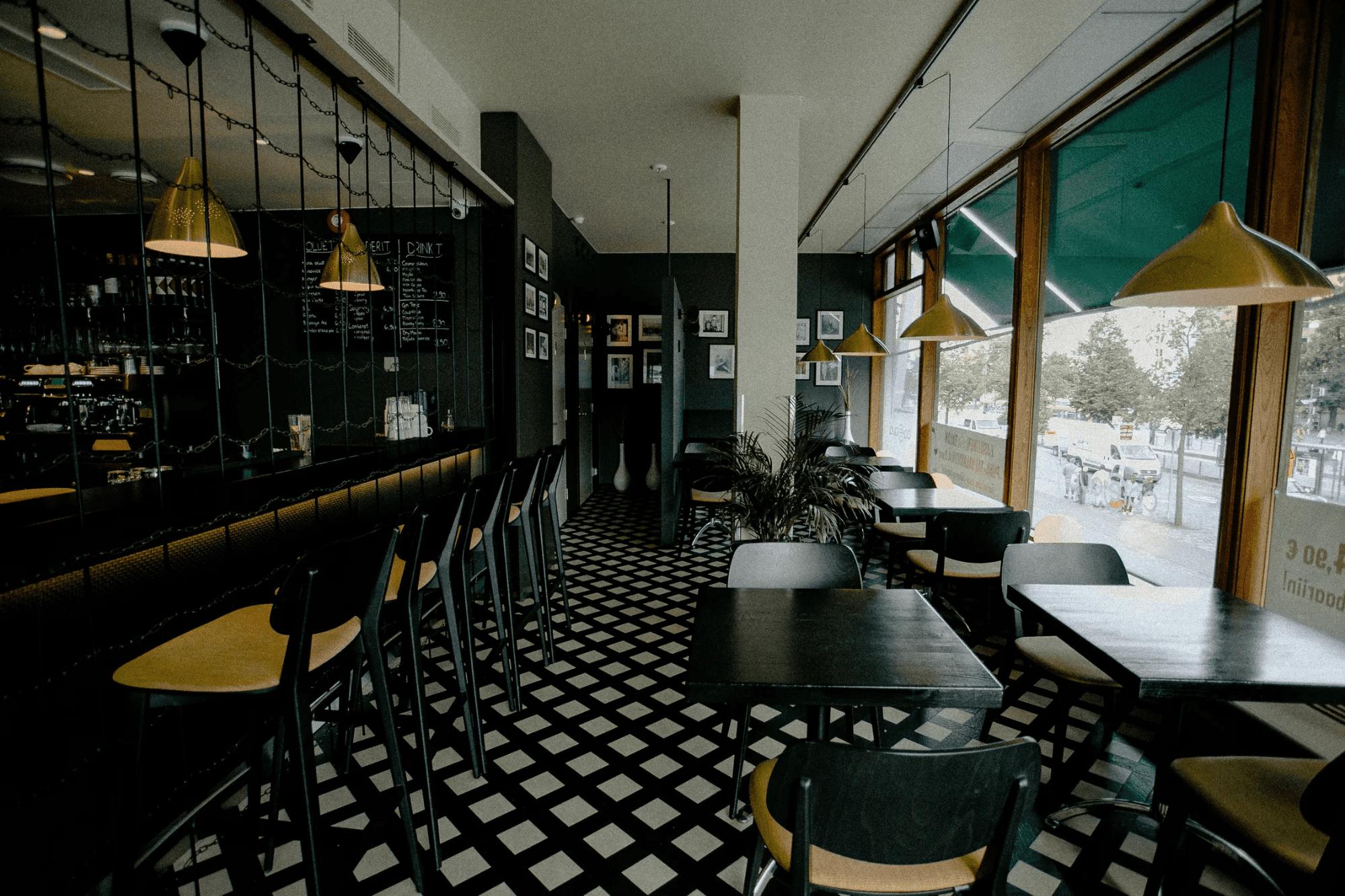 Inside a diner