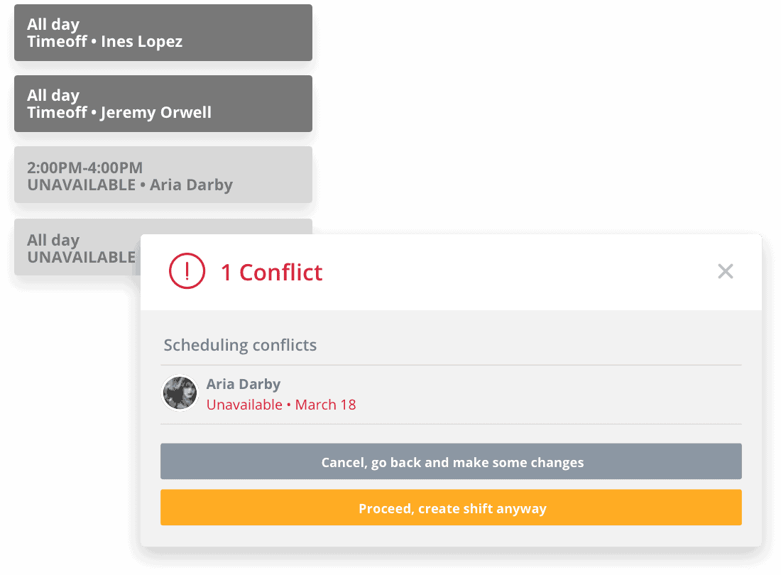 Sling conflict notification screen