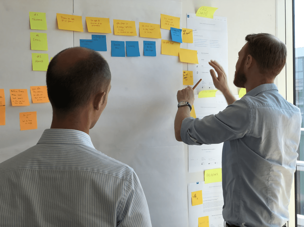 two managers working on standard operating procedures on a white board with sticky notes