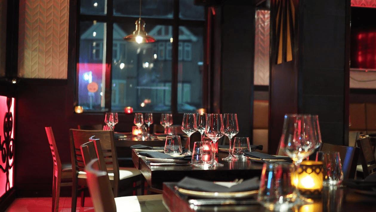 Empty fine-dining restaurant