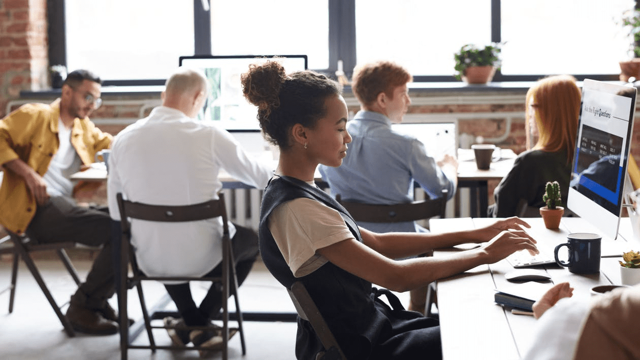 high-potential employees working together in an office