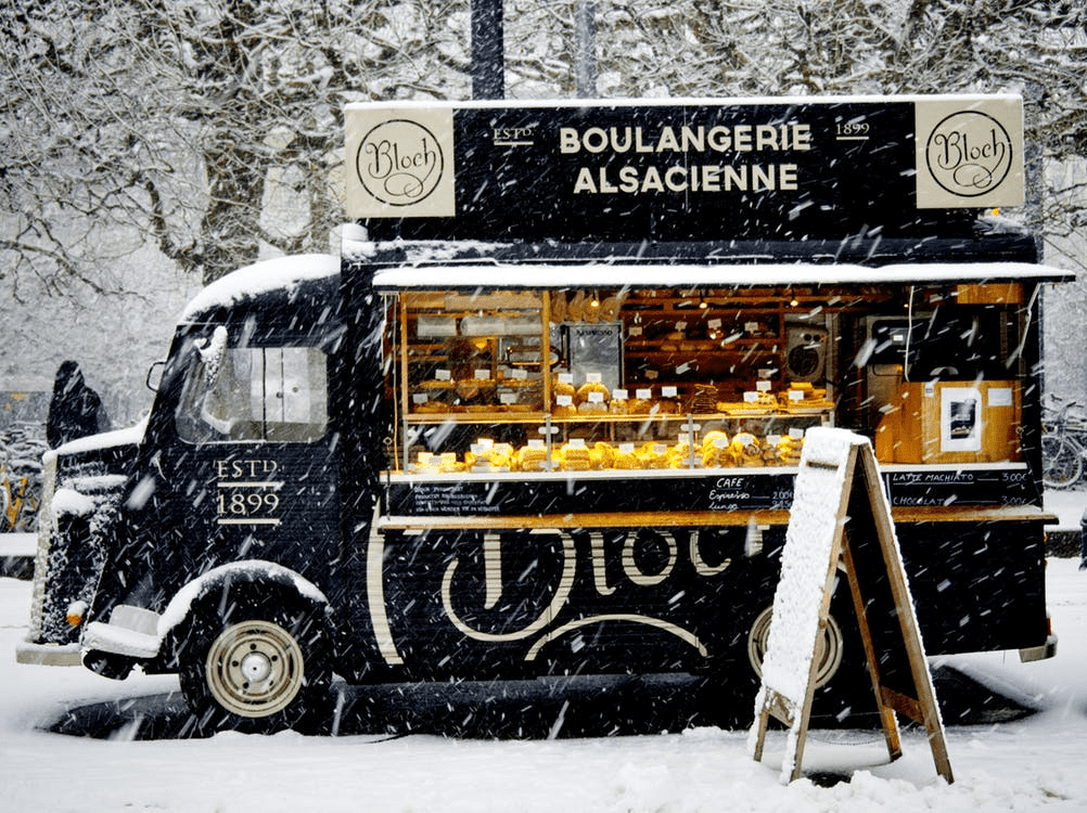 mobile eatery thriving in the snow because of a food truck business plan