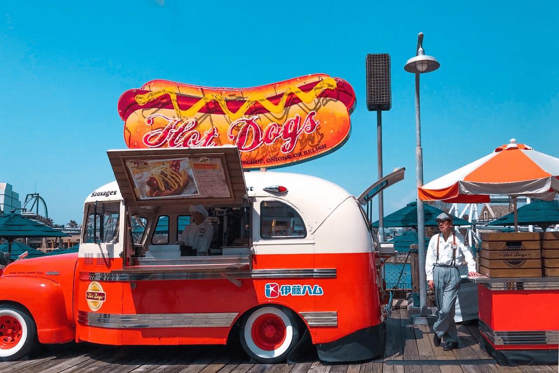 hot dog food truck on a boardwalk
