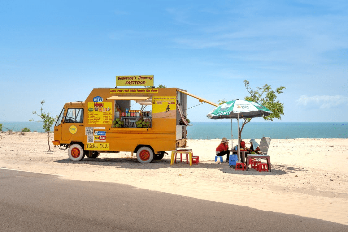 Food truck with a business plan on the beach