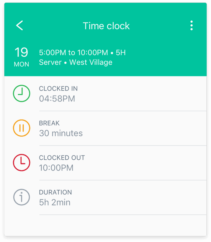 Sling's time clock feature
