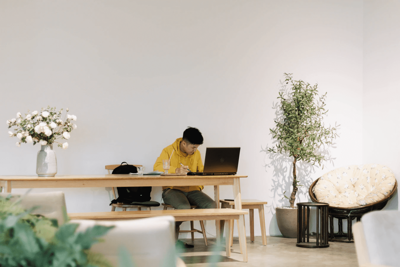 Guy at desk doing remote work